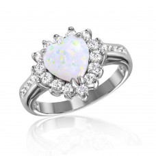 Wholesale Sterling Silver 925 Rhodium Plated Halo Heart with Synthetic Opal Center Stone Ring - BGR01026