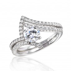 Wholesale Sterling Silver 925 Rhodium Plated 2 Pcs Wedding Ring with 6MM Center CZ - BGR01031