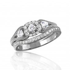 Wholesale Sterling Silver 925 Rhodium Plated Engagement Ring - BGR01040