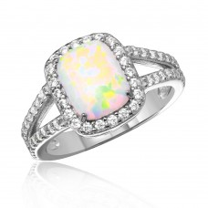 Wholesale Sterling Silver 925 Rhodium Plated Halo Ring with Synthetic Baguette Opal and CZ - BGR01041