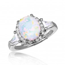 Wholesale Sterling Silver 925 Rhodium Plated Halo Ring with Synthetic Oval Opal and CZ - BGR01042