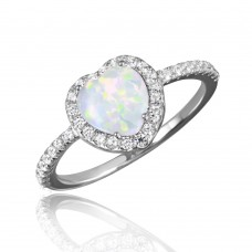 Wholesale Sterling Silver 925 Rhodium Plated Halo Heart Ring with Synthetic Opal and CZ - BGR01046