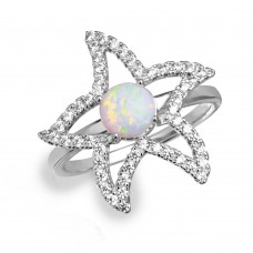 Sterling Silver Rhodium Plated Open Starfish Ring with Synthetic Opal and CZ - BGR01048