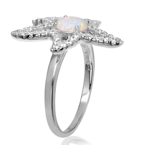 Wholesale Sterling Silver 925 Rhodium Plated Open Starfish Ring with Synthetic Opal and CZ - BGR01048