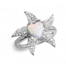 Sterling Silver Rhodium Plated Starfish Ring with Synthetic Opal and CZ - BGR01049