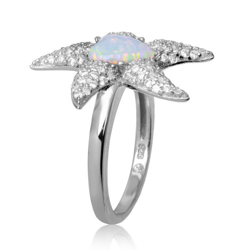 Wholesale Sterling Silver 925 Rhodium Plated Starfish Ring with Synthetic Opal and CZ - BGR01049