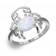 Sterling Silver Rhodium Plated Crab Design Ring with Synthetic Opal and CZ - BGR01050