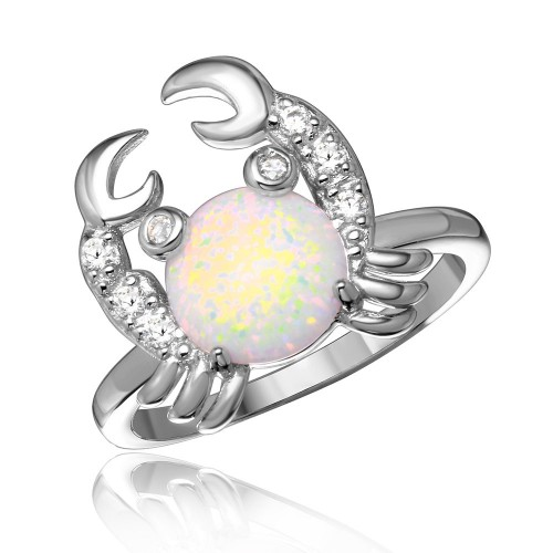 Wholesale Sterling Silver 925 Rhodium Plated Hanging Crab Design Ring with Synthetic Opal and CZ - BGR01051