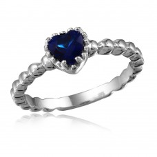 Wholesale Sterling Silver 925 Rhodium Plated Beaded Band Blue Heart Center Stone Ring - BGR01052BLUE