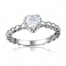 Wholesale Sterling Silver 925 Rhodium Plated Beaded Band Clear Heart Center Stone Ring - BGR01052CLR