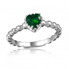Wholesale Sterling Silver 925 Rhodium Plated Beaded Band Green Heart Center Stone Ring - BGR01052GRN