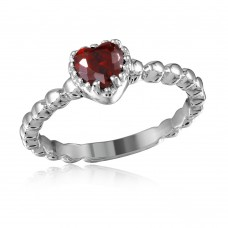 Wholesale Sterling Silver 925 Rhodium Plated Beaded Band Red Heart Center Stone Ring - BGR01052RED