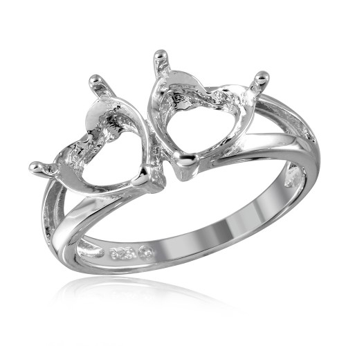 Wholesale Sterling Silver 925 Rhodium Plated Open Shank Double Heart Mounting Ring - BGR01058