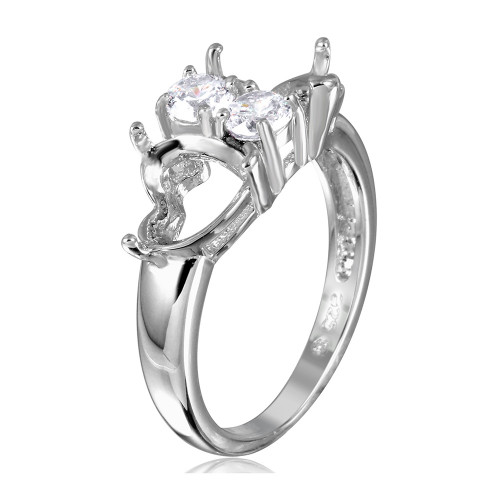 Wholesale Sterling Silver 925 Rhodium Plated Double Heart Mounting Ring Spite By CZ - BGR01059
