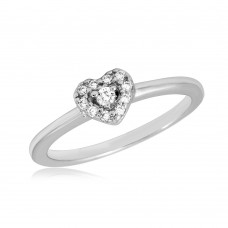 Wholesale Sterling Silver 925 Rhodium Plated CZ Heart Ring - BGR01066