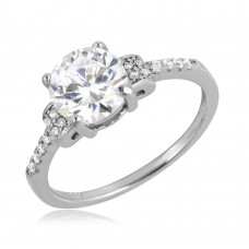 Wholesale Sterling Silver 925 Rhodium Plated Micro Pave Shank Round Center Stone Ring - BGR01070