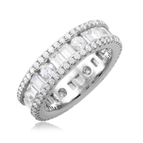 Wholesale Sterling Silver 925 Rhodium Plated Eternity Band with Baguette CZ Stones - BGR01075