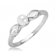 Sterling Silver Rhodium Plated Cats Eye CZ Synthetic Pearl Center Stone Ring - BGR01078