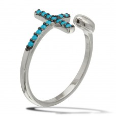 Wholesale Sterling Silver 925 Rhodium Plated Heart and Cross Open Ring with Turquoise Beads - BGR01086