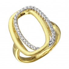 Sterling Silver Gold Plated Open Double Oval CZ Ring - BGR01087
