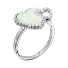 Wholesale Sterling Silver 925 Rhodium Plated Double Opal and CZ Heart Ring - BGR01089