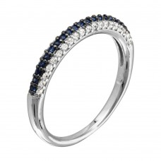 Wholesale Sterling Silver 925 Rhodium Plated Blue and Clear Stackable Ring - BGR01090