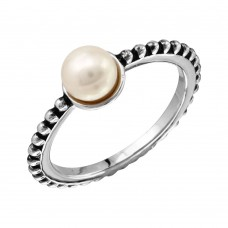 Sterling Silver Rhodium Plated Beaded Shank Fresh Water Center Pearl Ring - BGR01092