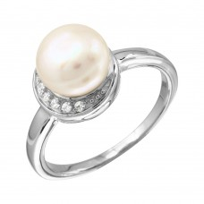 Sterling Silver Rhodium Plated CZ Crescent Ring With Fresh Water Pearl - BGR01095