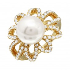 Sterling Silver Gold Plated Open CZ Flower Ring with Synthetic Center Pearl - BGR01096