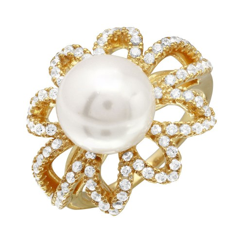 Wholesale Sterling Silver 925 Gold Plated Open CZ Flower Ring with Synthetic Center Pearl - BGR01096