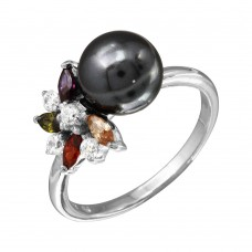 Sterling Silver Rhodium Plated Multi Color CZ Flower Ring With Black Synthetic Pearl - BGR01097