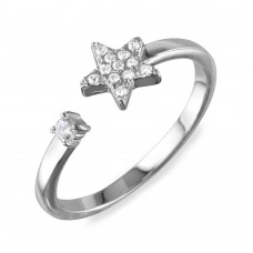 Wholesale Sterling Silver 925 Rhodium Plated Open Star Ring with CZ - BGR01103