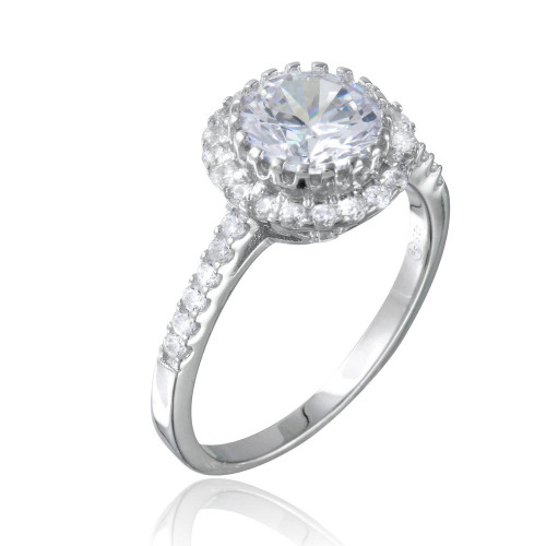 Wholesale Sterling Silver 925 Rhodium Plated Micro Pave Round CZ Ring - BGR01104