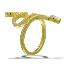 Sterling Silver Gold Plated Snake Design with CZ Ring - BGR01105