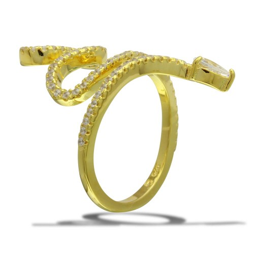Wholesale Sterling Silver 925 Gold Plated Snake Design with CZ Ring - BGR01105