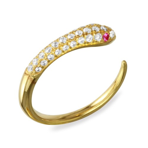 Wholesale Sterling Silver 925 Gold Plated Open Snake Ring with CZ - BGR01106