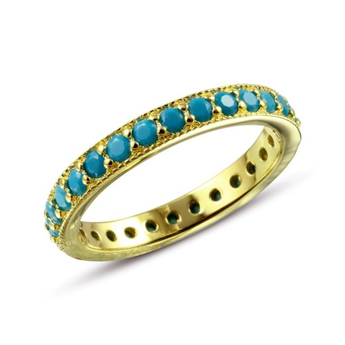 Wholesale Sterling Silver 925 Gold Plated Eternity Ring with Turquoise Beads - BGR01107