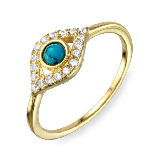 Wholesale Sterling Silver 925 Gold Plated Evil Eye CZ Ring with Turquoise Bead - BGR01109GP