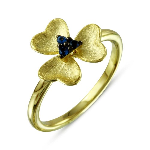 Wholesale Sterling Silver 925 Gold Plated and Matte Finish Flower Ring with Blue CZ - BGR01110
