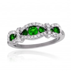 Sterling Silver Rhodium Plated Knotted Green CZ Ring - BGR01112GRN