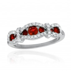 Sterling Silver Rhodium Plated Knotted Red CZ Ring - BGR01112RED