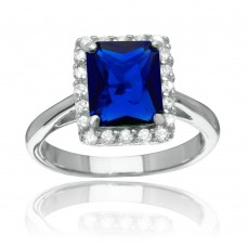 Sterling Silver Rhodium Plated Square Blue CZ Halo Ring - BGR01113BLU