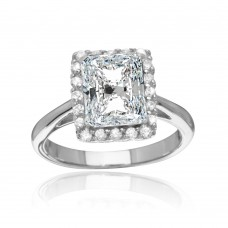 Sterling Silver Rhodium Plated Square Clear CZ Halo Ring - BGR01113CLR
