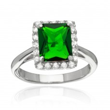 Sterling Silver Rhodium Plated Square Green CZ Halo Ring - BGR01113GRN