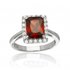 Sterling Silver Rhodium Plated Square Red CZ Halo Ring - BGR01113RED