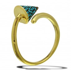Sterling Silver Gold Plated Open End Cone Ring with Turquoise Beads - BGR01114