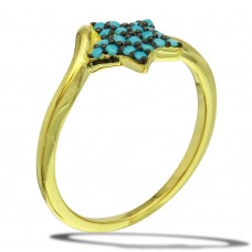 Sterling Silver Gold Plated Star Ring with Turquoise Beads - BGR01115
