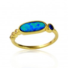Sterling Silver Gold Plated Blue Opal Ring with Blue and Clear Round CZ - BGR01117