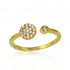 Sterling Silver Gold Plated Open Ring with Round CZ and CZ Circle - BGR01118