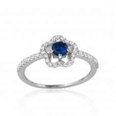 Wholesale Sterling Silver Rhodium Plated Clover Micropave Ring with Blue Center CZ and Clear Round CZ - BGR01120BLU